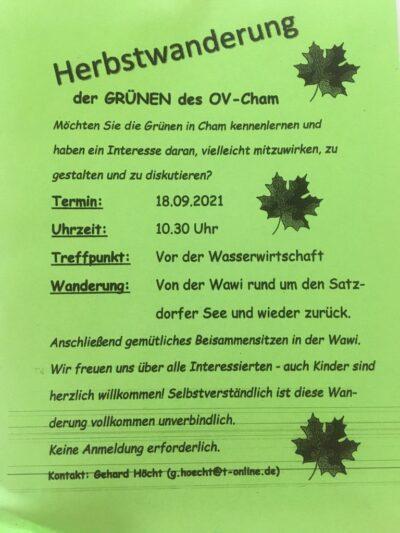 Einladung zur Herbstwanderung am 18.09.2021